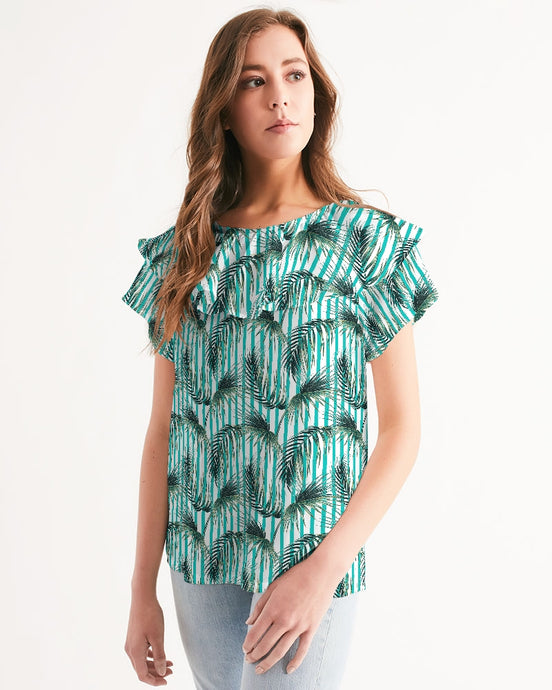 Palm Leaves Women's Short Sleeve Chiffon Top-cloth-PureDesignTees