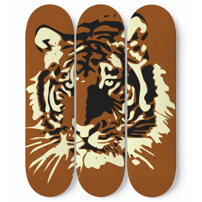 Brown Tiger Skateboard Wall Art-3 Skateboard Wall Art-PureDesignTees
