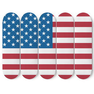 American Flag 5x Skateboard Wall Art-5 Skateboard Wall Art-PureDesignTees