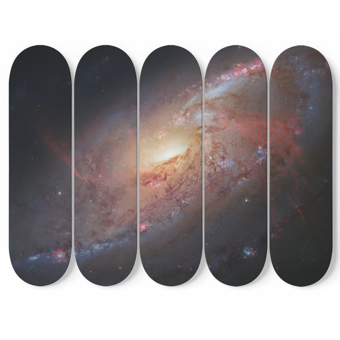 Hubble's View of Messier 106 on 5 Skateboard Wall Art-5 Skateboard Wall Art-PureDesignTees
