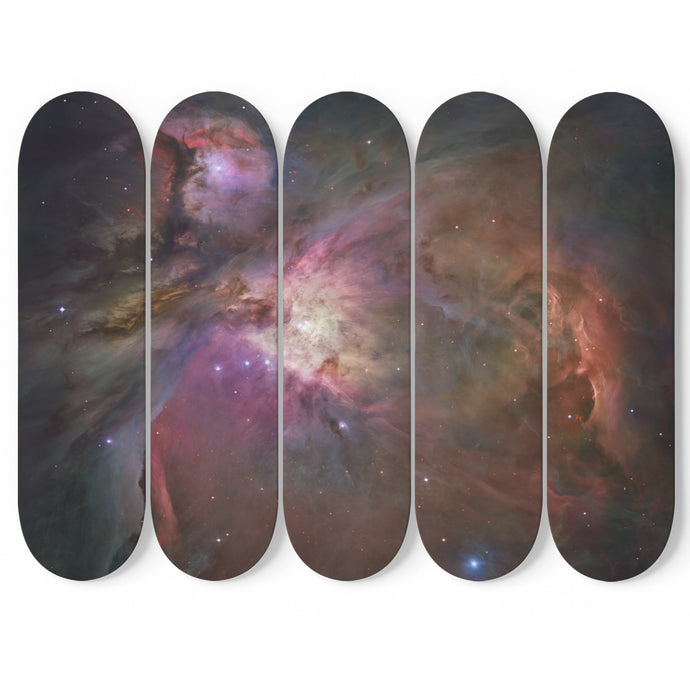 Hubble View of Orion Nebula on 5 Skateboard Wall Art-5 Skateboard Wall Art-PureDesignTees