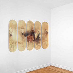 Watercolor Horses 5x Skateboard Wall Art-5 Skateboard Wall Art-PureDesignTees