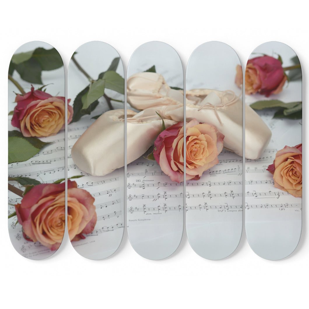 Ballet Slippers and Roses 5x Skateboard Wall Art-5 Skateboard Wall Art-PureDesignTees
