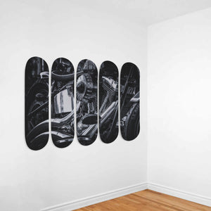 Motorcycle on 5x Skateboard Wall Art-5 Skateboard Wall Art-PureDesignTees