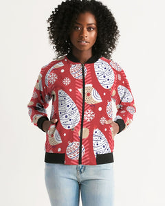 Red Christmas Women's Bomber Jacket-cloth-PureDesignTees