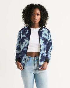 Blue Tie Dye Women's Bomber Jacket-cloth-PureDesignTees