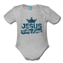 Load image into Gallery viewer, Jesus is My King Organic Short Sleeve Baby Bodysuit-Organic Short Sleeve Baby Bodysuit-PureDesignTees