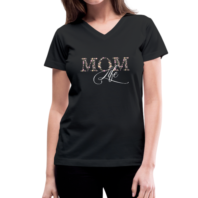 Mom Life Floral Design Women's V-Neck T-Shirt-Women's V-Neck T-Shirt-PureDesignTees