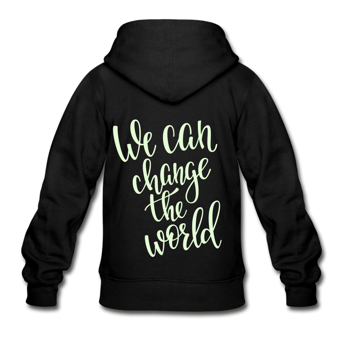 We Can Change the World Glow in the Dark Youth Zip Hoodie-Gildan Heavy Blend Youth Zip Hoodie-PureDesignTees
