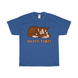 Nappy Time! Sleeping Cat Heavy Cotton T-Shirt-T-Shirt-PureDesignTees