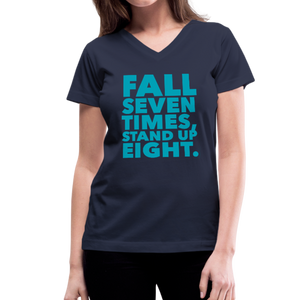 Fall Seven Times Stand Up Eight Women's V-Neck T-Shirt-Women's V-Neck T-Shirt-PureDesignTees