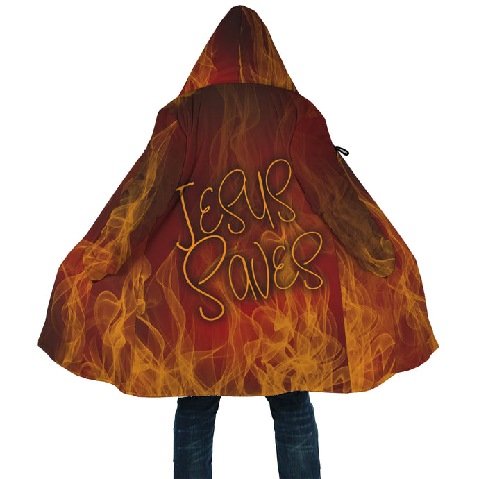 Jesus Saves Fire Cloak-AOP Cloak-PureDesignTees