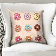"Load image into Gallery viewer, Donuts Throw Pillow Case 18""x18""-home goods-PureDesignTees"