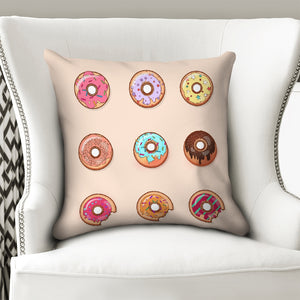 "Donuts Throw Pillow Case 18""x18""-home goods-PureDesignTees"