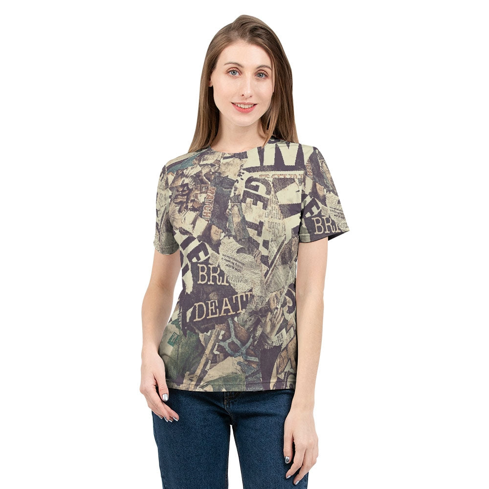 Grunge Newspaper Women's Tee-cloth-PureDesignTees