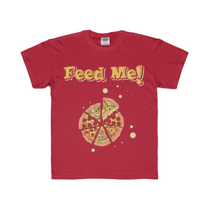 Feed Me Pizza Youth Regular Fit Tee-Kids clothes-PureDesignTees