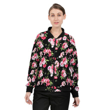 Load image into Gallery viewer, Peony Floral Print Women's Bomber Jacket-cloth-PureDesignTees