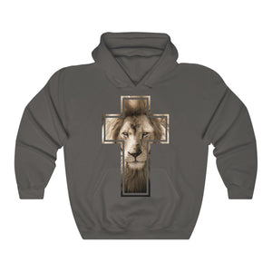 Lion Stare from the Cross Unisex Heavy Blend™ Hooded Sweatshirt-Hoodie-PureDesignTees