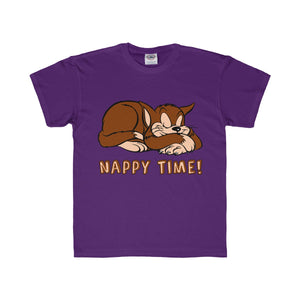 Nappy Time! with Sleeping Cat Youth Regular Fit Tee-Kids clothes-PureDesignTees