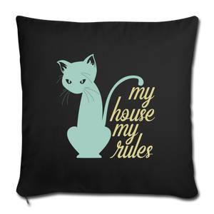 "My House My Rules Cat Throw Pillow Cover 18"" x 18""-Throw Pillow Cover 18"" x 18""-PureDesignTees"