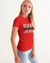 Load image into Gallery viewer, Dude You Need Jesus Women's Red Graphic Tee-cloth-PureDesignTees