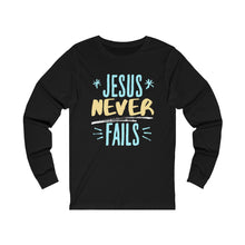 Load image into Gallery viewer, Jesus never FaIls Unisex Jersey Long Sleeve Tee-Long-sleeve-PureDesignTees