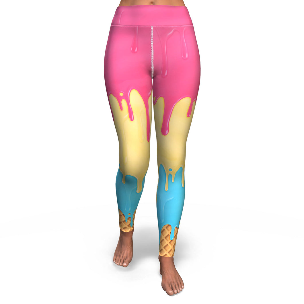 Melting Icecream Leggings-Yoga Pants-PureDesignTees