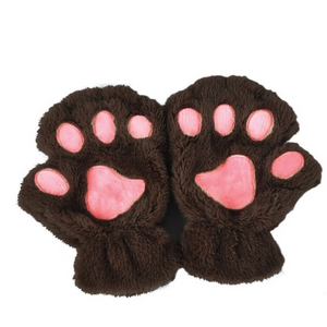 Fuzzy Cat Fingerless Gloves-Clothing-PureDesignTees