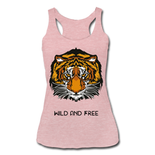 Load image into Gallery viewer, Wild and Free Tiger Women's Tri-Blend Racerback Tank-Women's Tri-Blend Racerback Tank-PureDesignTees