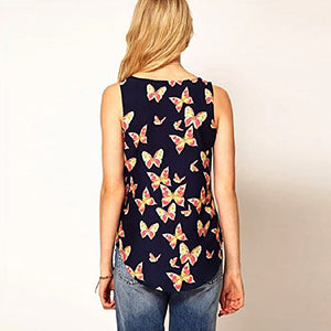 Women's Butterfly Print Tank Top-Tanks & Camis-PureDesignTees