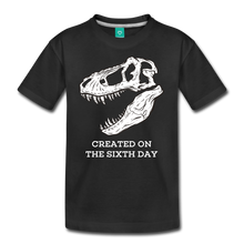 Load image into Gallery viewer, Dinosaur Created on the Sixth Day Creationist Premium Kid's Tee-Kids' Premium T-Shirt-PureDesignTees