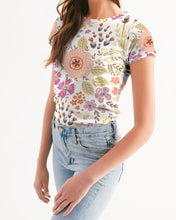 Load image into Gallery viewer, Flower Pattern White Pink Women's Tee-cloth-PureDesignTees