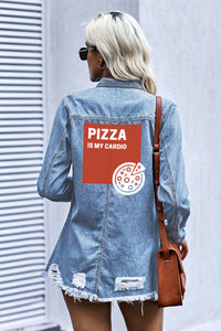 Pizza is My Cardio Women's Denim Jacket-Kids & Babies-PureDesignTees