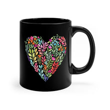 Load image into Gallery viewer, Classy Watercolor Floral Heart Black mug 11oz-Mug-PureDesignTees