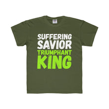 Load image into Gallery viewer, Suffering Savior Triumphant King Youth Regular Fit Tee-Kids clothes-PureDesignTees