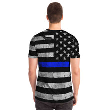 Load image into Gallery viewer, Support Our Police Blue Line Flag Unisex T-shirt-T-shirt-PureDesignTees
