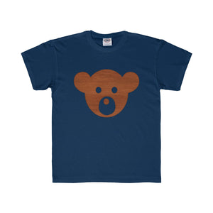 Wooden Teddy Bear Face Kids Regular Fit Tee-Kids clothes-PureDesignTees