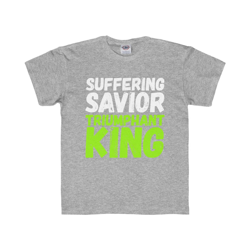Suffering Savior Triumphant King Youth Regular Fit Tee-Kids clothes-PureDesignTees