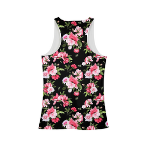 Peony Floral Print Women's Tank-cloth-PureDesignTees