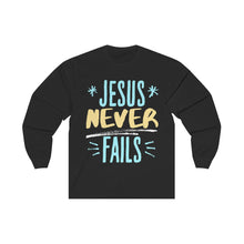 Load image into Gallery viewer, Jesus never FaIls Unisex Long Sleeve Tee-Long-sleeve-PureDesignTees