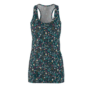 Flower Women's Cut & Sew Racerback Dress-All Over Prints-PureDesignTees