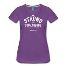 Load image into Gallery viewer, Be Strong and Courageous Joshua 1:7 Women's Premium T-Shirt - purple