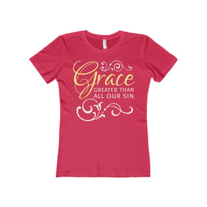 Grace Greater Than All Our Sin Women's The Boyfriend Tee-T-Shirt-PureDesignTees