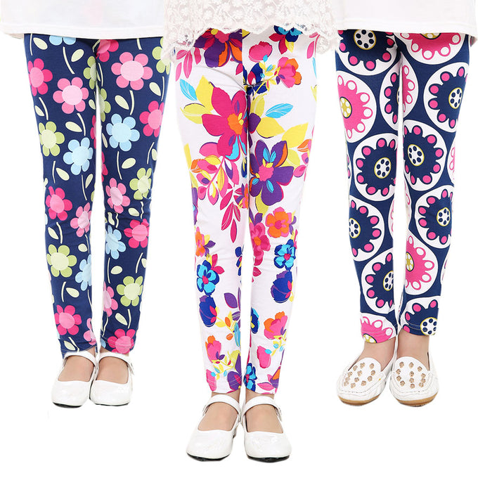 Floral Leggings for Girls-Leggings-PureDesignTees