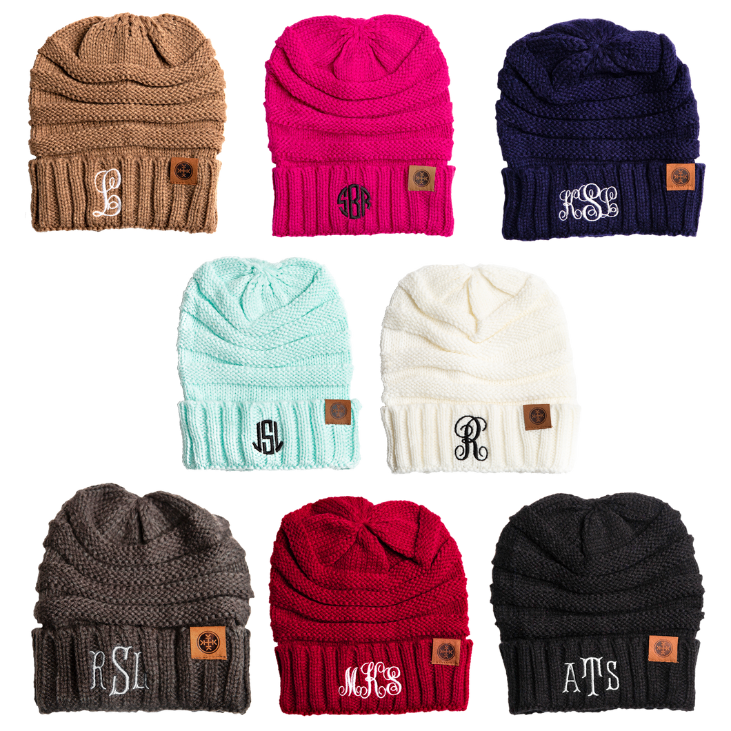 Monogrammed Adult Beanie-Monogrammed Beanie Personalized-PureDesignTees