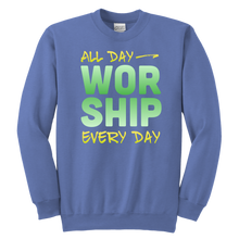 Load image into Gallery viewer, All Day Every Day Worship Youth Sweatshirt-Youth Sweatshirt-PureDesignTees