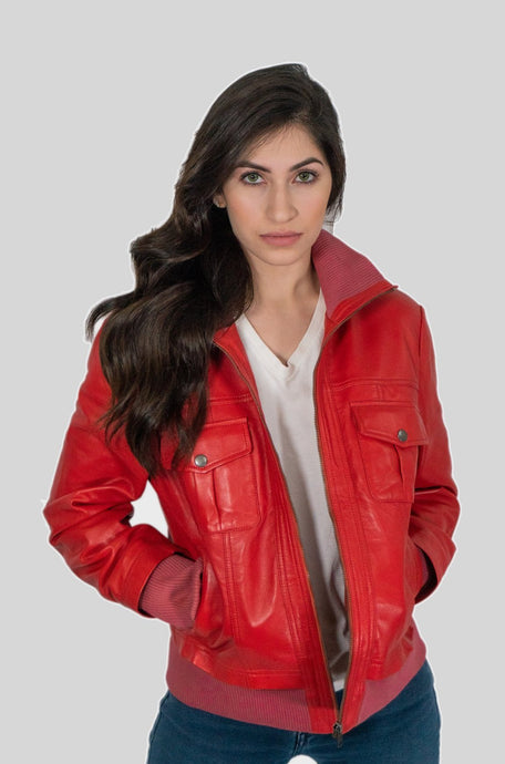 Bailey Womens Leather Bomber Jacket Red-Jackets & Coats-PureDesignTees