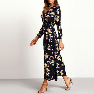 SHEIN Floral Long-Sleeve Party Dress-Dress-PureDesignTees