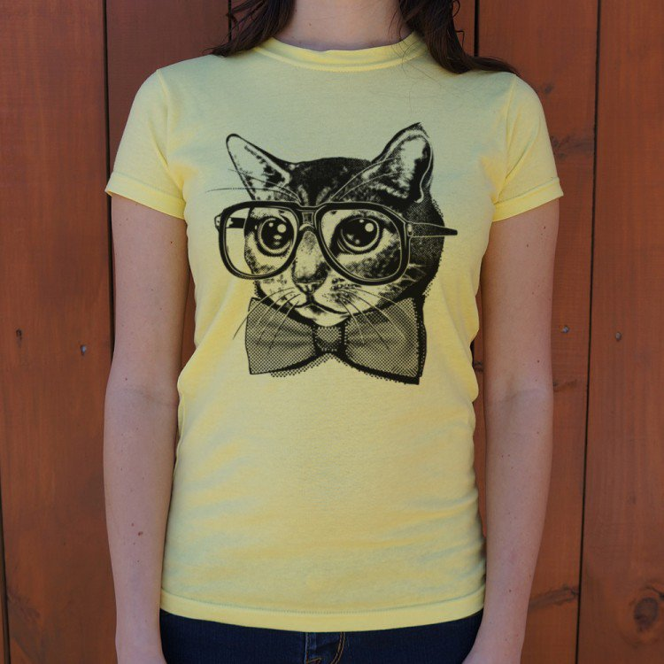 Nerd Cat T-Shirt (Ladies)-Ladies T-Shirt-PureDesignTees