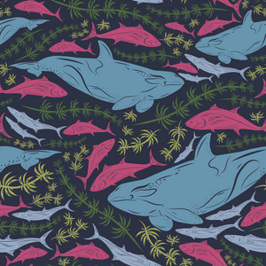 Whales and Fish Towel-Beach Towel-PureDesignTees